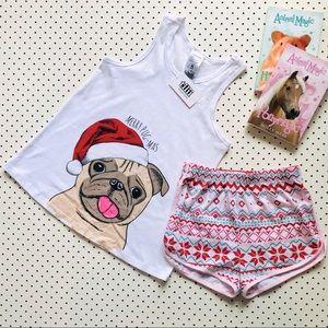Girls size 9 TILLI (Myer) Christmas Pug PJs